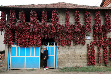 A woman stands in front of her house as bunches of peppers hang on a wall to dry in the village of Donja Lakosnica