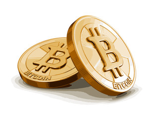 Golden bitcoin. Image with clipping path