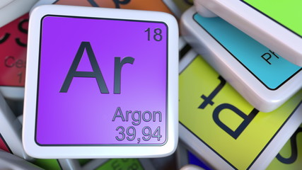 Argon block on the pile of periodic table of the chemical elements blocks. Chemistry related 3D rendering