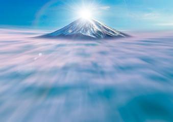 富士山と雲海と日の出