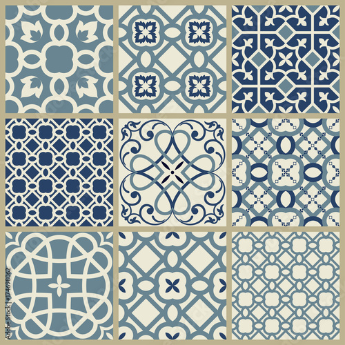 """Designer White Abstract Ceramic Wall Tile Pack Of 8 L: """"Seamless Ceramic Tiles With Damask Pattern. Vintage"""