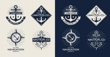 Inspirational themplate of Nautical Style Logo, Emblem Designs. Vintage sea label.