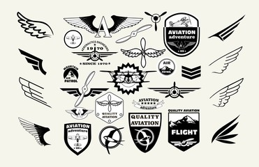 Monochrome Mega Set of retro emblems, design elements , badges and logo patches on the theme aviation