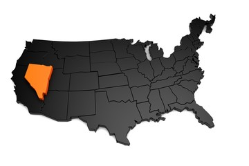United States of America, 3d black map, with Nevada state highlighted in orange. 3d render