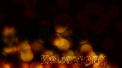red gold abstract Background with blur bokeh light effect.and Halloween word