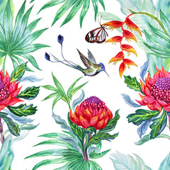 Seamless watercolor pattern of tropical flowers and hummingbirds.