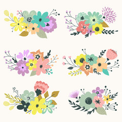 Vintage vector set of floral compositions in gentle colors.