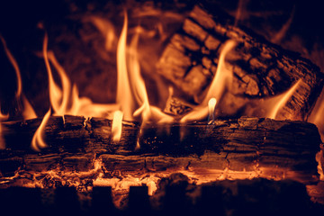 Wood in the flames of cozy fireplace
