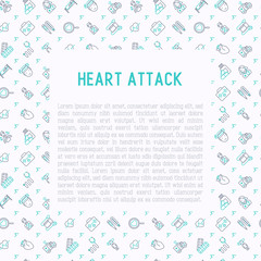 Heart attack concept with thin line icons of symptoms and treatments. Modern vector illustration for medical report or survey, banner, web page, print media with place for text.