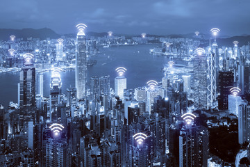 Wifi icon and Hong Kong city with wireless network connection. Hong Kong smart city and wireless communication network, abstract image visual, internet of things.