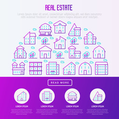 Real estate concept in half circle with thin line houses and trees. Modern vector illustration for background of banner, web page, print media with place for text.