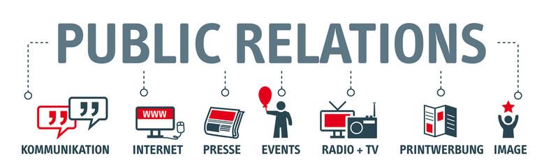 Banner Public Relations - Konzept für Öffentlichkeitsarbeit mit Stichwörtern und icons