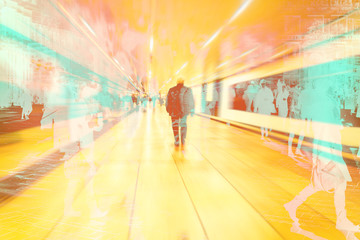 abstract image of people walking in the subway station