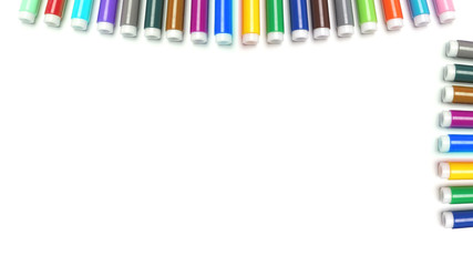 Colored markers isolated on the white background.