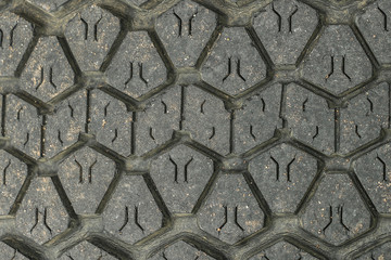 cracked, weathered rubber tyre tread