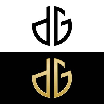 dg initial logo circle shape vector black and gold