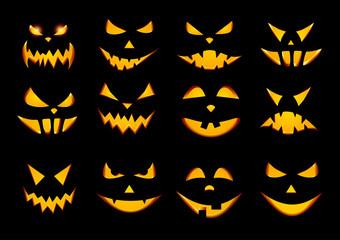 Halloween pumpkin face patterns on black.