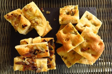 focaccia bread slices viewed from above