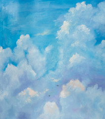 painting with oil paints, the sky with birds.