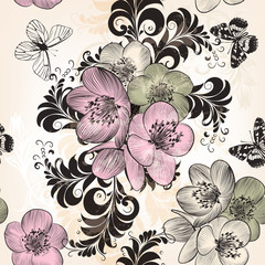 Beautiful seamless wallpaper pattern with hand drawn flowers