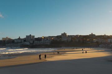 Bondi Beach with few people.