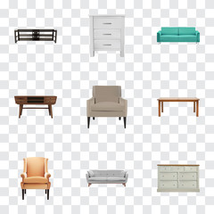 Realistic Cupboard, Furniture, Settee And Other Vector Elements. Set Of Furniture Realistic Symbols Also Includes Couch, Table, Cupboard Objects.