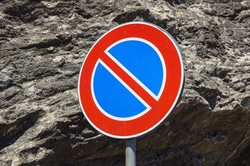 Traffic sign for no stopping and parking i