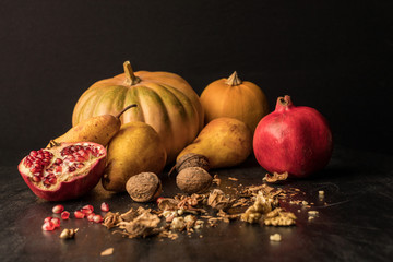 pumpkins, fruits and walnuts