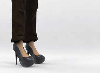 3d rendering. A working woman who wearing coffee color long pant and black high heels standing on gray background. within Clipping path