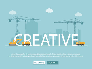 Crane and creative building. Infographic Template. Vector Illustration.