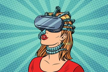 Pop art woman in virtual reality gadget parasite