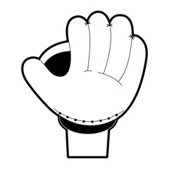 glove baseball related icon image vector illustration design  black and white