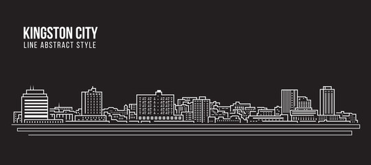 Cityscape Building Line art Vector Illustration design - Kingston city (jamaica)