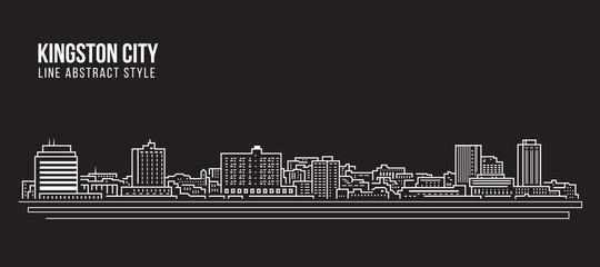 Cityscape Building Line art Vector Illustration design - Kingston city (jamaica)