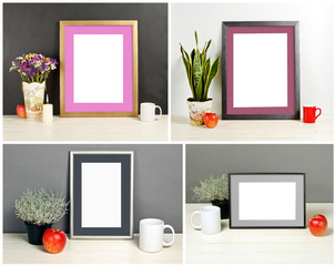 Set of frame mockup with field flowers in vase, plant pot, apple, mug