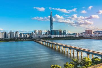 Fotobehang Seoel Twilight at han river seoul korea