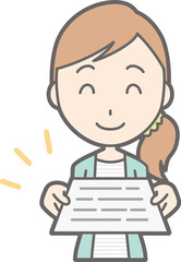 Illustration that a young woman in striped clothes presents a document
