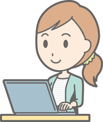 Illustration of a young lady wearing striped clothes operating a laptop computer