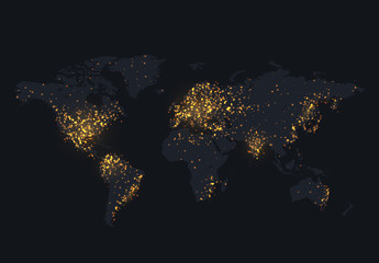 Night map of the world shine country and city.