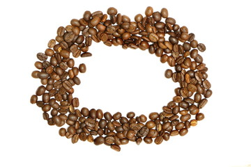 Circle frame of coffee beans on white background have copy space