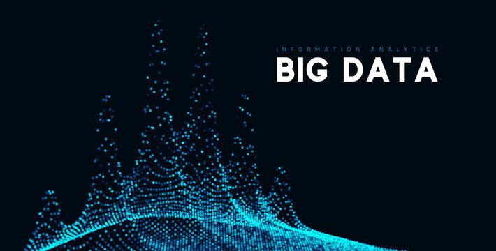 Big data visualization. Information wave technology. Futuristic abstract background of digital data