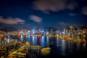 Wall Mural - Panorama of Hong Kong City skyline at sunset