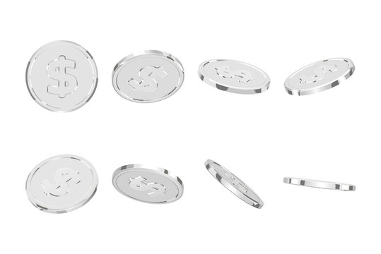 Silver coins. Realistic silver money isolated on white background.