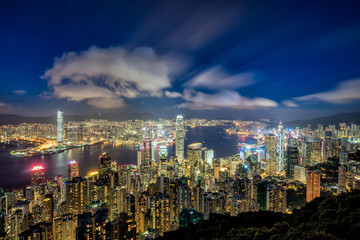 Wall Mural - Panorama of Hong Kong City skyline at dusk. View from The peak Hongkong.