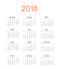 Calendar for 2018 English simple on white background vector illustration.