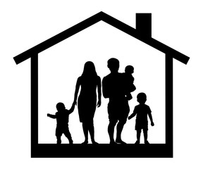 Large family house silhouette