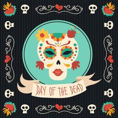 Day of the dead mexican catrina sugar skull art