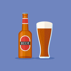 Bottle and glass with dark beer on blue background. Flat style vector illustration.
