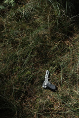 Pistol in sunlight in grass. High angle view.