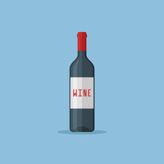 Bottle of red wine isolated on blue background. Flat style icon. Vector illustration.
